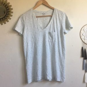 Madewell SS blue and white striped v neck tee